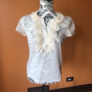 J Crew Ruffle Collar Sheer Silk Blouse